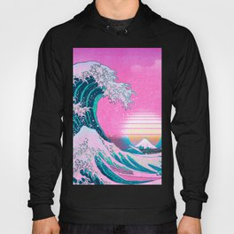 Vaporwave Aesthetic Great Wave Off Kanagawa Sunset Hoody