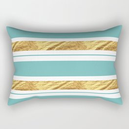 Gold and Aqua Blue Stripes Rectangular Pillow