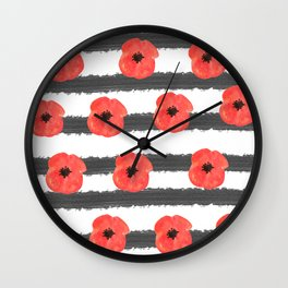 Red poppy with black stripes  Wall Clock