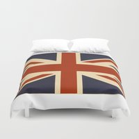 british flag Duvet Covers featuring British Flag Vintage Illustration by MY  HOME