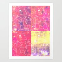 squirtle Art Prints featuring Squirtle Squad by pkarnold + The Cult Print Shop