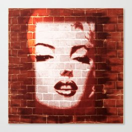 Marilyn Street Art on Brick Wall Canvas Print