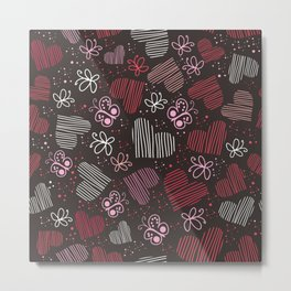 chocolate hearts pattern Metal Print