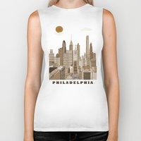 philadelphia Biker Tanks featuring Philadelphia skyline vintage by bri.buckley