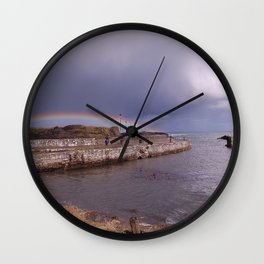 Rainbow Over Ballintoy Harbour, County Antrim, Northern Ireland Wall Clock