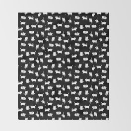 White cats on black Throw Blanket
