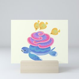 Coral turtle Mini Art Print