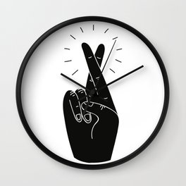 Fingers Crossed Wall Clock