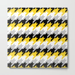 Neon Goth Houndstooth Pattern (Yellow) Metal Print