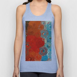 Turquoise and Red Swirls Unisex Tank Top