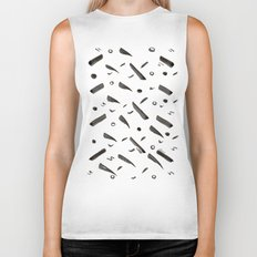 Brushes Pattern Biker Tank