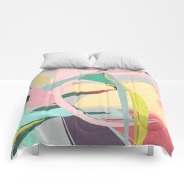 Shapes and Layers no.23 - Abstract Draper pink, green, blue, yellow Comforters