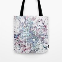 minneapolis Tote Bags featuring Minneapolis map by MapMapMaps.Watercolors