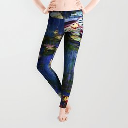 Water Lilies at Twilight impressionist painting by Claude Monet Leggings
