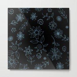 Sweet whirling flowerbed pattern - blue on black Metal Print