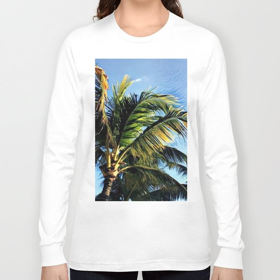 Palm Tree in the Wind (Hawaii Sky) Long Sleeve T-shirt