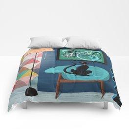 Creature Comforts Mid-Century Interior With Black Cat Comforters