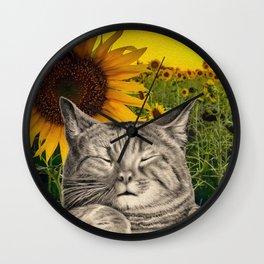 Sleepy Cats in a Sunflower Field Wall Clock