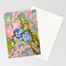 ROSES PINK AND PAINTERLY BLUE SO SHABBY CHIC Stationery Cards