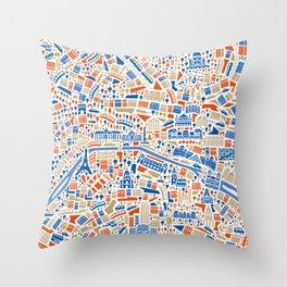Paris City Map Poster Throw Pillow