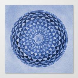 Watercolor Sacred Geometry Blue Mandala Torus Canvas Print