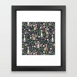 Cute rabbits (dark blue) Framed Art Print