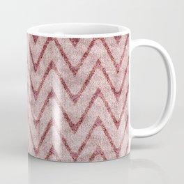 Rich Dusty Pink Zigzag Faux Velvet Chevron Coffee Mug