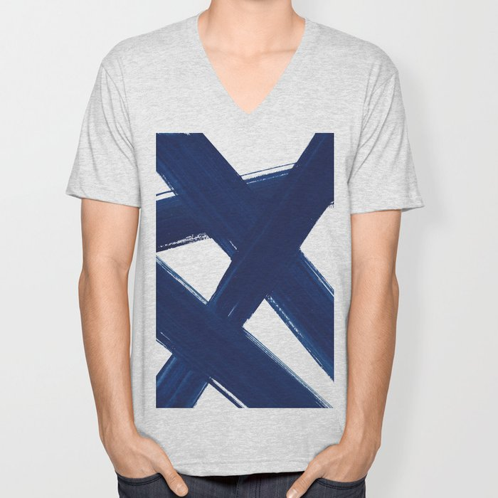 Indigo Abstract Brush Strokes | No. 3 Unisex V-Neck