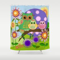 bebop Shower Curtains featuring Owls, Flowers Fantasy design by thea walstra