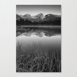 Sprague Lake Rocky Mountain Morning - Black and White Canvas Print