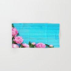 peonies on blue Hand & Bath Towel