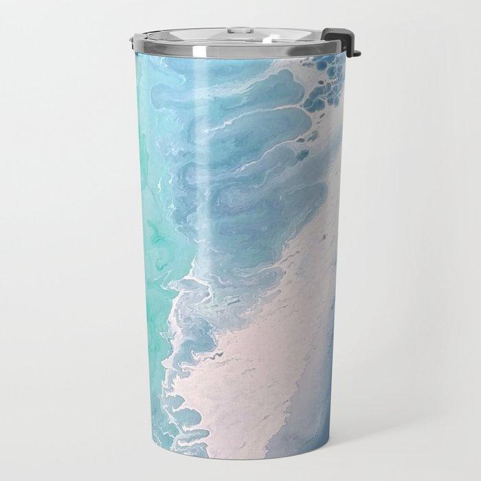 Blue Fluid Painting Waves Fluid Acrylic Abstract Travel Mug