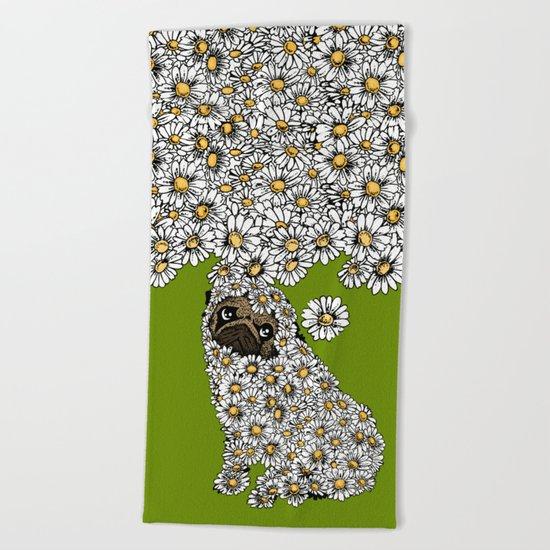 Pug Daisy Beach Towel