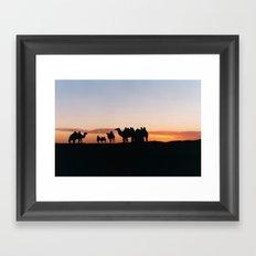 Camels at Sundown Framed Art Print