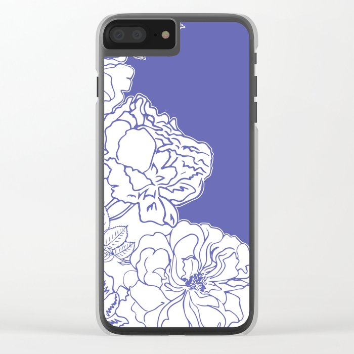 FLORAL IN BLUE Clear iPhone Case