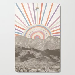 Summerlin Mountain Up // Abstract Vintage Mountains Summer Sun Surf Beach Vibe Drawing Happy Wall Ha Cutting Board