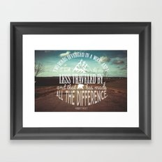 The Road Not Taken book quote Framed Art Print
