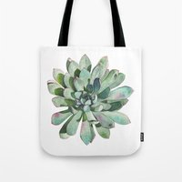 succulent Tote Bags featuring Succulent by LouiseDemasi