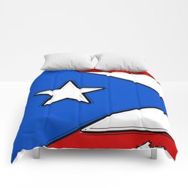 Puerto Rico Map with Puerto Rican Flag Comforters
