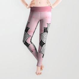 Artistic Boho Hand Drawn Mandala on Pink Tie Dye Leggings