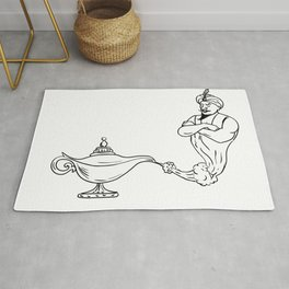 Genie Coming Out of Oil Lamp Black and White Drawing Rug