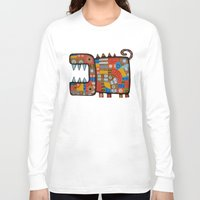 hippo Long Sleeve T-shirts featuring Dog hippo by Rudolf Brancovsky
