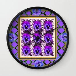 PURPLE & BLUE SPRING PANSIES  GARDEN  PATTERN Wall Clock