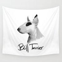 terrier Wall Tapestries featuring Bull Terrier by Det Tidkun