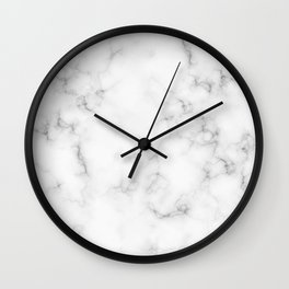 The Perfect Classic White with Grey Veins Marble Wall Clock