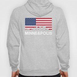 Minneapolis MN American Flag Skyline Hoody