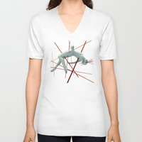 cyberpunk V-neck T-shirts featuring Dividendo Digital by Obvious Warrior