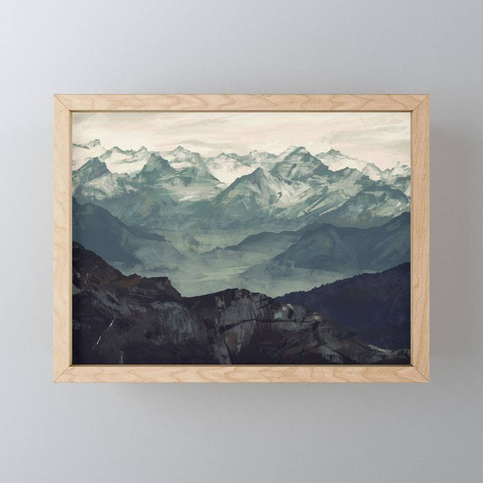 Mountain Fog Framed Mini Art Print