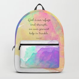 Psalm 46:1, God is our Refuge, Scripture Quote Backpack