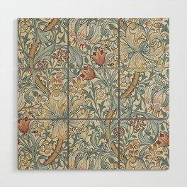 William Morris Vintage Golden Lily Soft Slate & Manilla Wood Wall Art